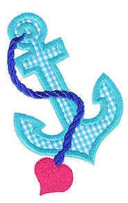 Anchor Heart Applique Design