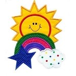 Rainbow Sun and Star Applique Design