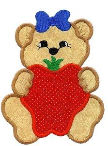 Strawberry Bear Applique Design