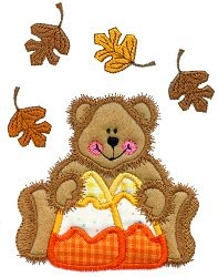 Candy Bear and Leaves Applique Design
