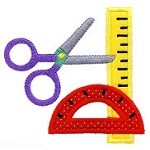 Scissor Protractor Rule Applique Design