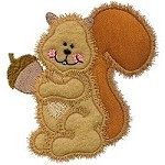 Squirrel with Acorn Applique Design