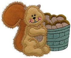 Squirrel Bushel Applique Design