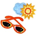 Sunglasses With Sun and Cloud Applique