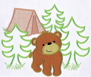 Woodland Bear Applique Design