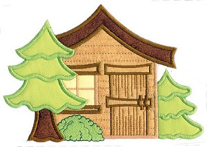 Cabin In the Woods Applique Design
