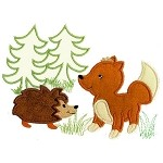 Fox and Hedgehog Applique Design