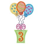 Present and Balloons Number Three Applique Design