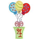 Presents and Balloons Number Four Applique Design