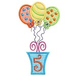 Presents and Balloons Number Five Applique