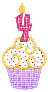 Cupcake Number Four Applique Design