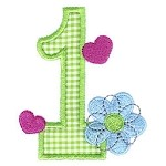 Number One Applique Flower Design