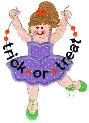 Ballerina Halloween Applique Design
