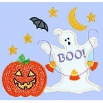 Halloween Ghost With Candy Applique Design