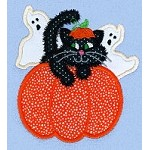 Halloween Pumpkin Ghost Cat Applique Design