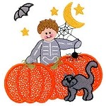 Skeleton Boy Halloween Applique Design