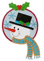 Snowman Head Applique Design