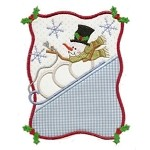 Snowman Sledding Applique Design