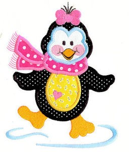 Prissy Little Penguin Applique Design