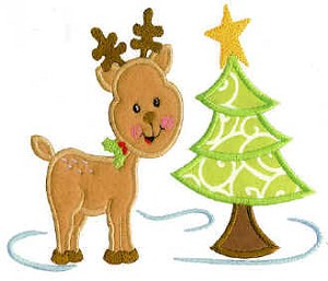 Reindeer and Tree Applique Design