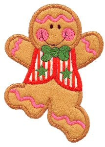 Dancing Gingerbread Boy Applique Design