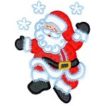 Dancing Santa 7 x 11 Christmas Applique Design