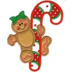 Gingerbread Candy Cane Applique Design