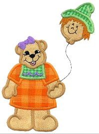 Balloon Bear Applique Design