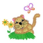 Cat In the Country Applique Design