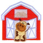 Cow in Barn Applique Design