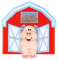 Pig In The Barn Applique Design