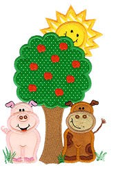 Cow Pig Tree Applique Design