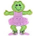Set of Three Ballerina Frog Applique Design