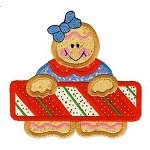 Candy Cane Gingerbread Applique Design