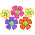 Five Daisies Applique Design