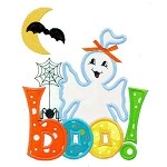 Ghost With Hairbow Applique Design
