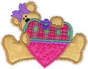 Heart Bear Applique Design