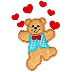 Dancing Teddy Love Applique Design
