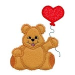 Valentine Teddy Applique Design