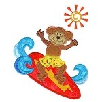 Surf Monkey Applique Design