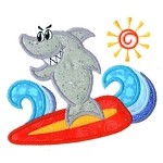 Shark Surf Applique Design