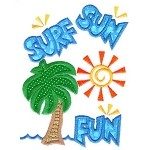 Surf Sun Fun Applique Design