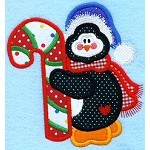 Penguin Candy Cane Applique Design