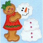 Gingerbread Snowman Applique Design