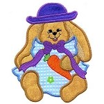 Bunny With Hat Applique Design