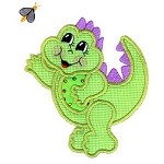 Dinosaur Bee Applique Design