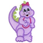 Girly Dinosaur 4 Applique Design