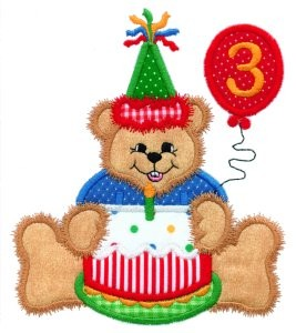Birthday Bear With Cake Applique Design