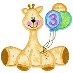 Giraffe With Balloons Applique Design