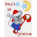 Baby's First Christmas Words Applique Design